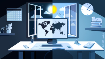 illustration of laptop desk by day and night in remote work from home office workspace environment