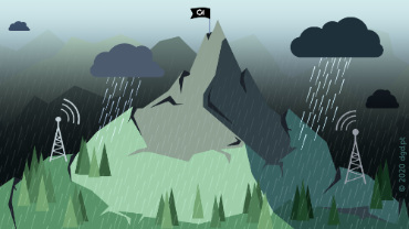 illustration of mountain during bad weather with dark clouds and obstacles on the way to the summit