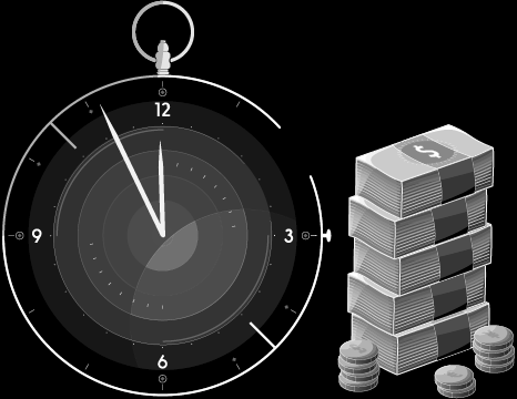 graphic of analog stopwatch clock and bundles of us dollars for efficiency and saving time and money