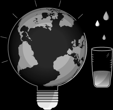 graphic of planet earth with light bulb to symbolize environmental impact through charities and ngos